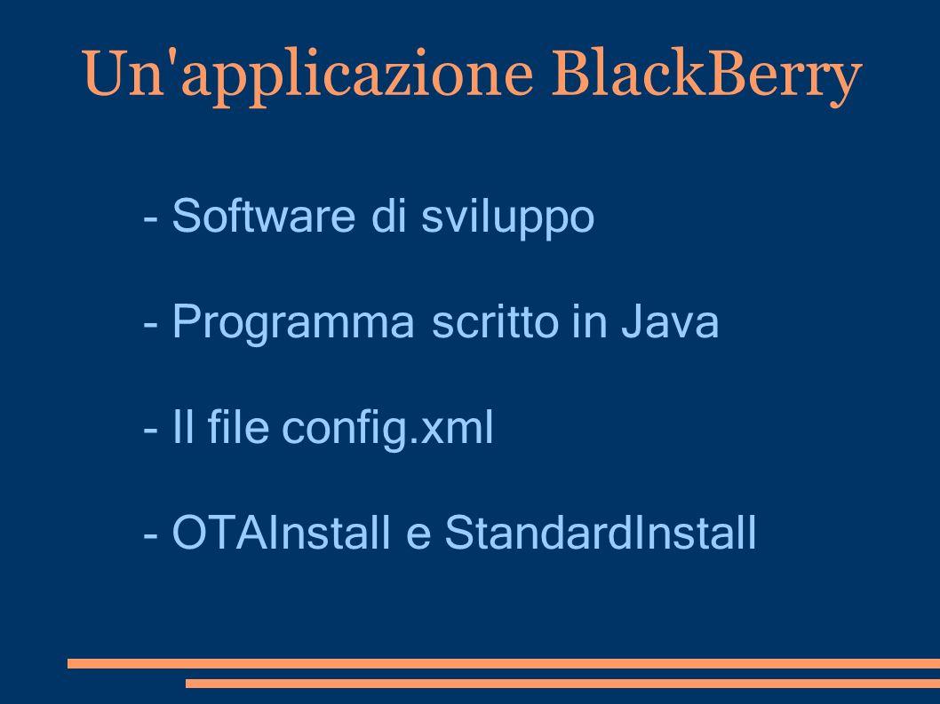 Un applicazione BlackBerry