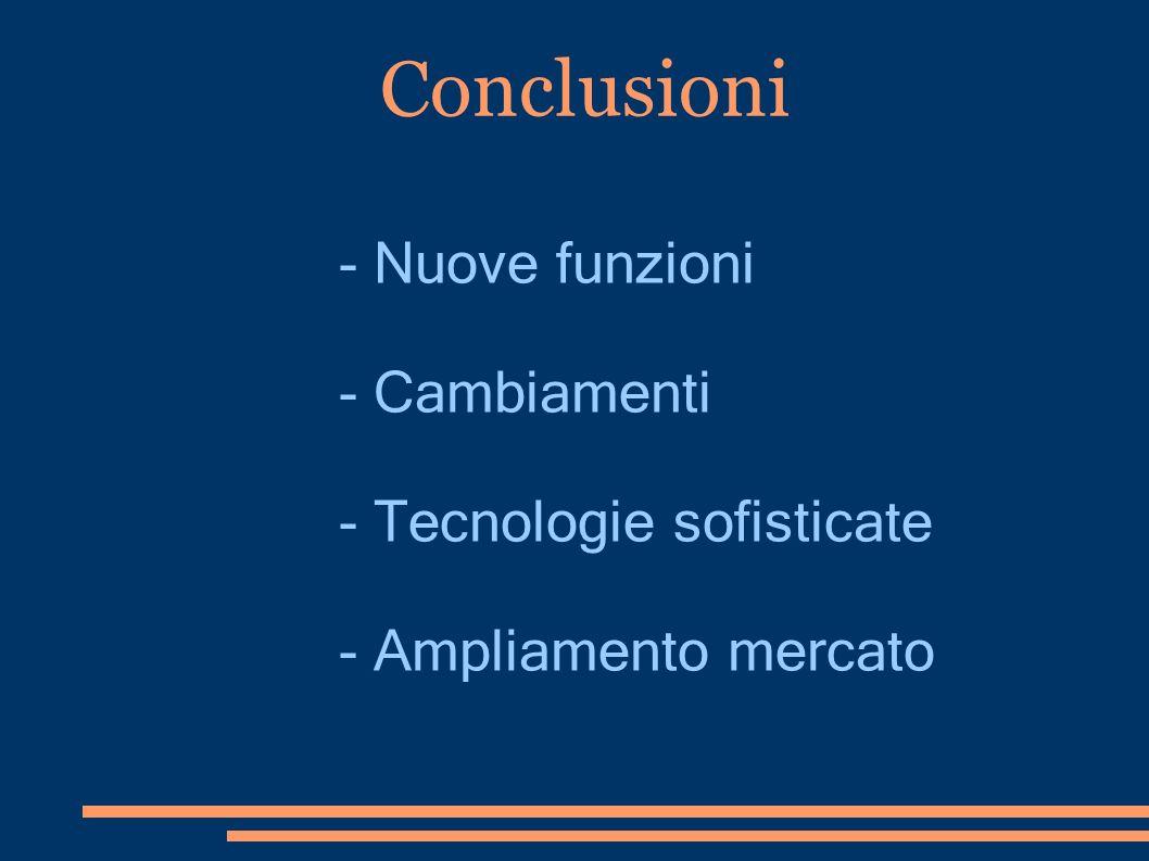 Conclusioni - Nuove funzioni - Cambiamenti - Tecnologie sofisticate