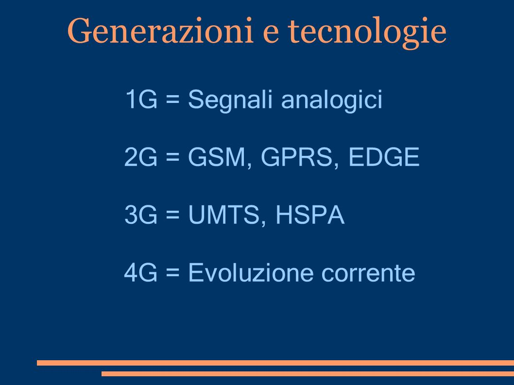 Generazioni e tecnologie
