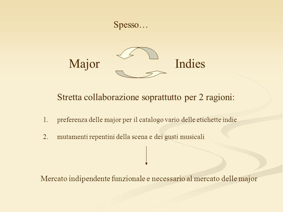 Major Indies Spesso… Stretta collaborazione soprattutto per 2 ragioni: