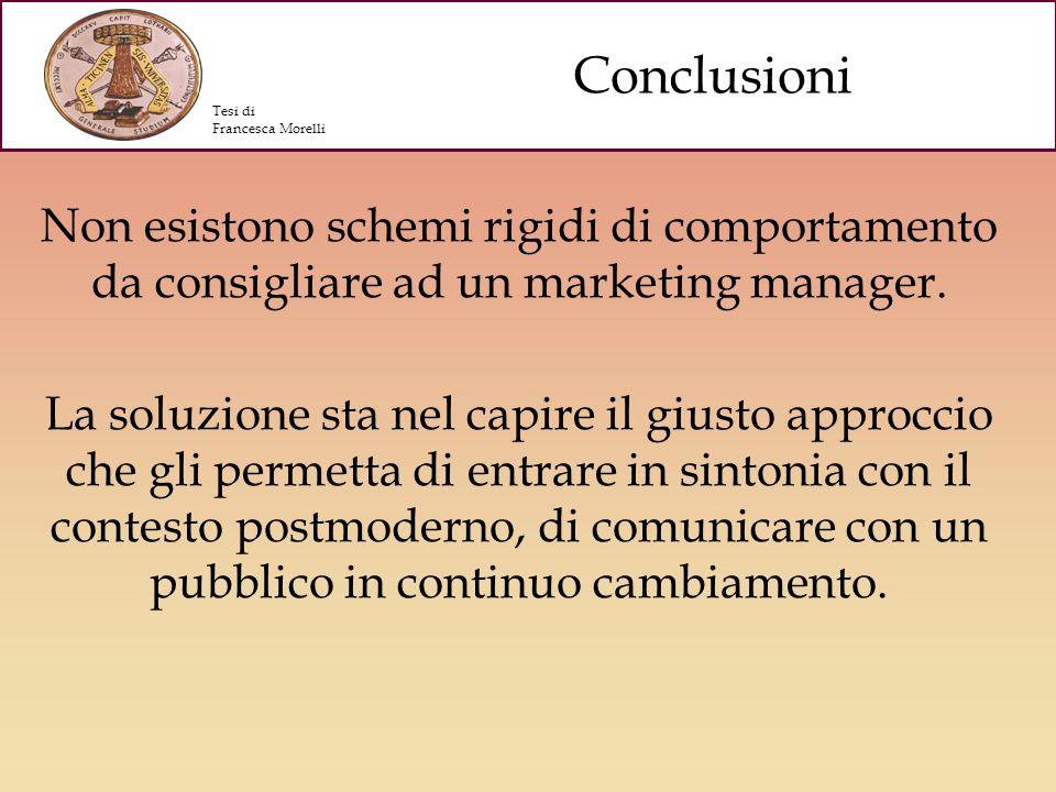 Conclusioni Tesi di. Francesca Morelli. Non esistono schemi rigidi di comportamento da consigliare ad un marketing manager.