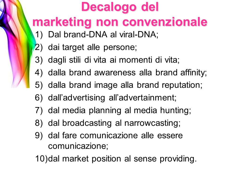 Decalogo del marketing non convenzionale
