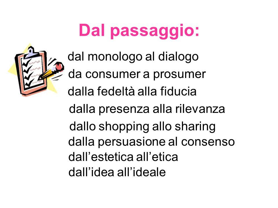 Dal passaggio: dal monologo al dialogo da consumer a prosumer