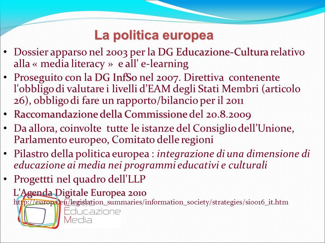 La politica europea Dossier apparso nel 2003 per la DG Educazione-Cultura relativo alla « media literacy » e all e-learning.