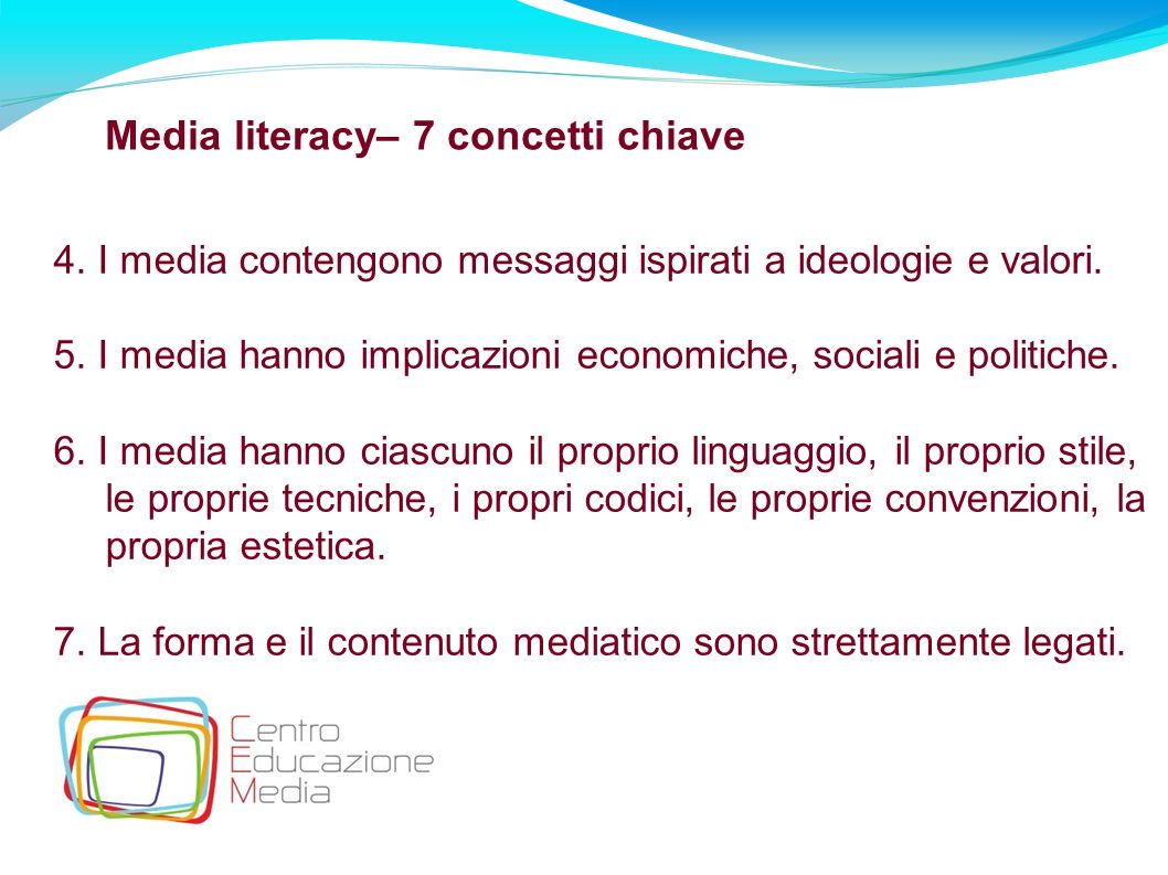Media literacy– 7 concetti chiave