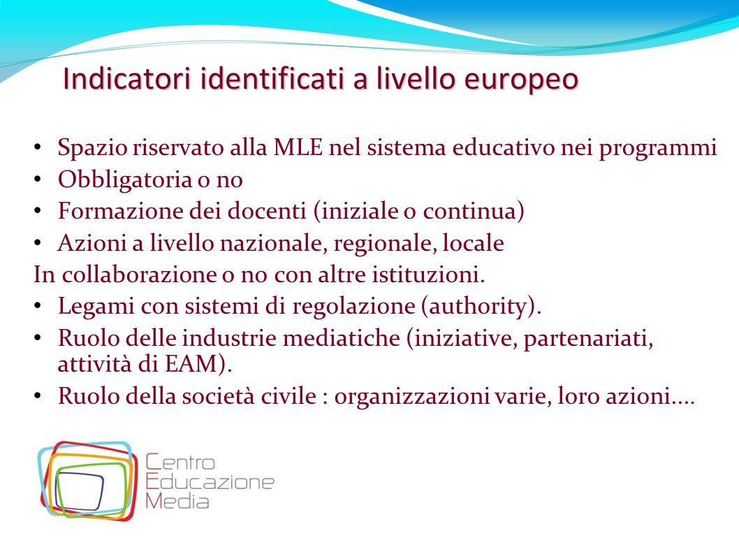 Indicatori identificati a livello europeo