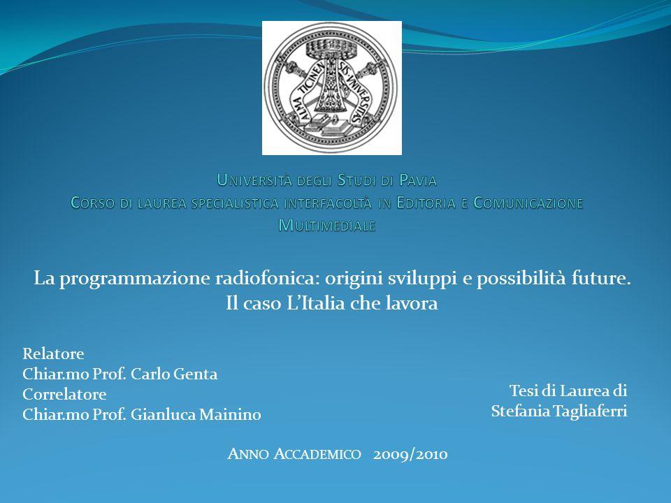 Università degli Studi di Pavia Corso di laurea specialistica interfacoltà in Editoria e Comunicazione Multimediale