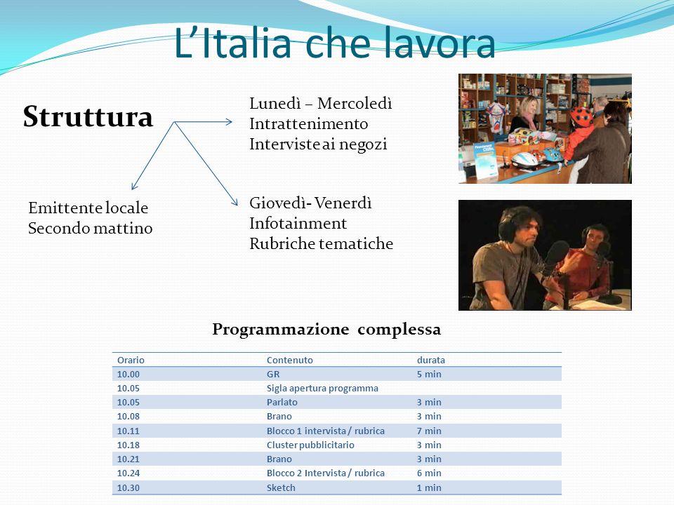 L'Italia che lavora Struttura Lunedì – Mercoledì Intrattenimento