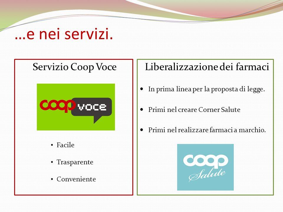 …e nei servizi. Servizio Coop Voce Liberalizzazione dei farmaci