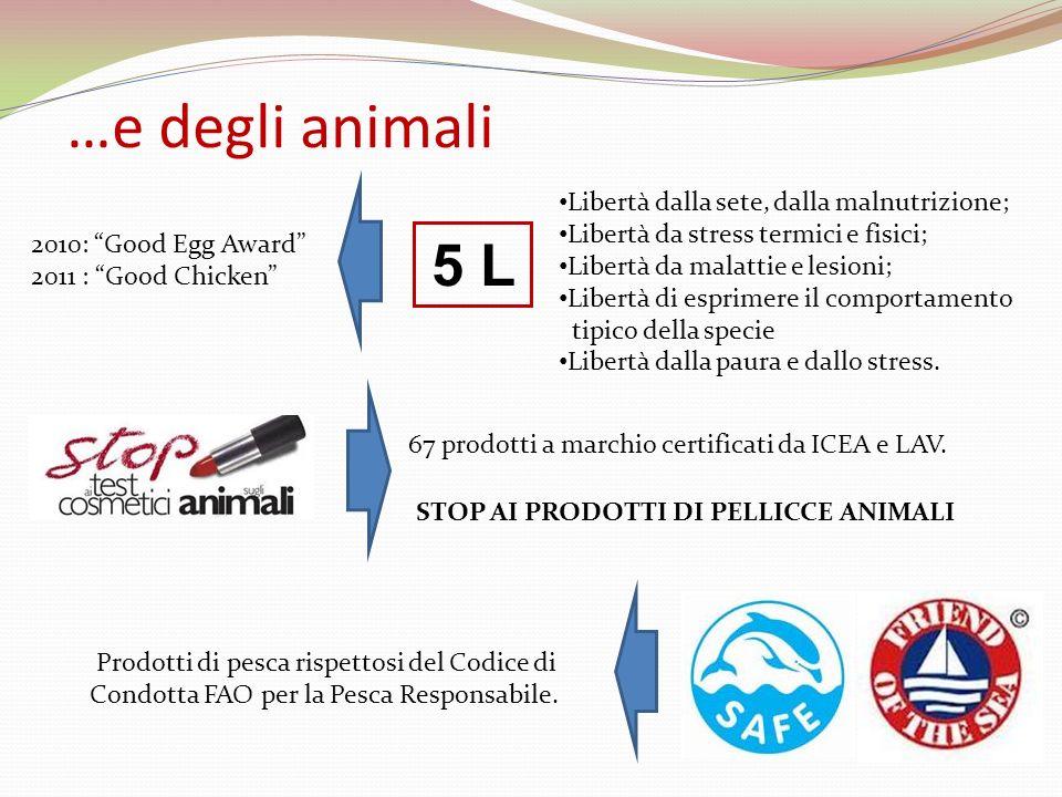…e degli animali Libertà dalla sete, dalla malnutrizione;