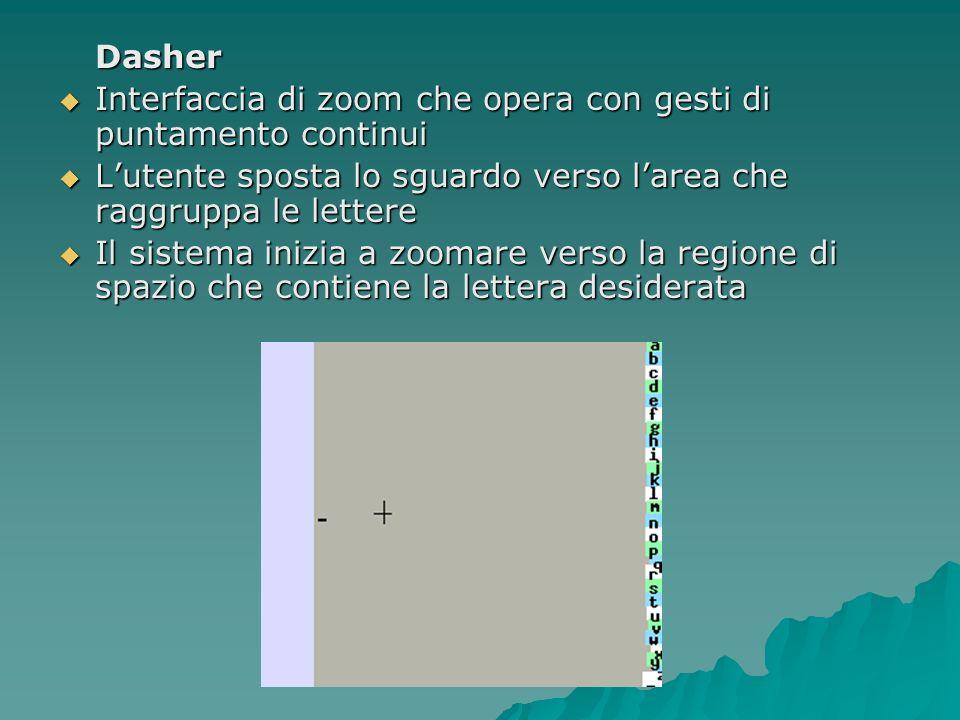 Dasher Interfaccia di zoom che opera con gesti di puntamento continui. L'utente sposta lo sguardo verso l'area che raggruppa le lettere.
