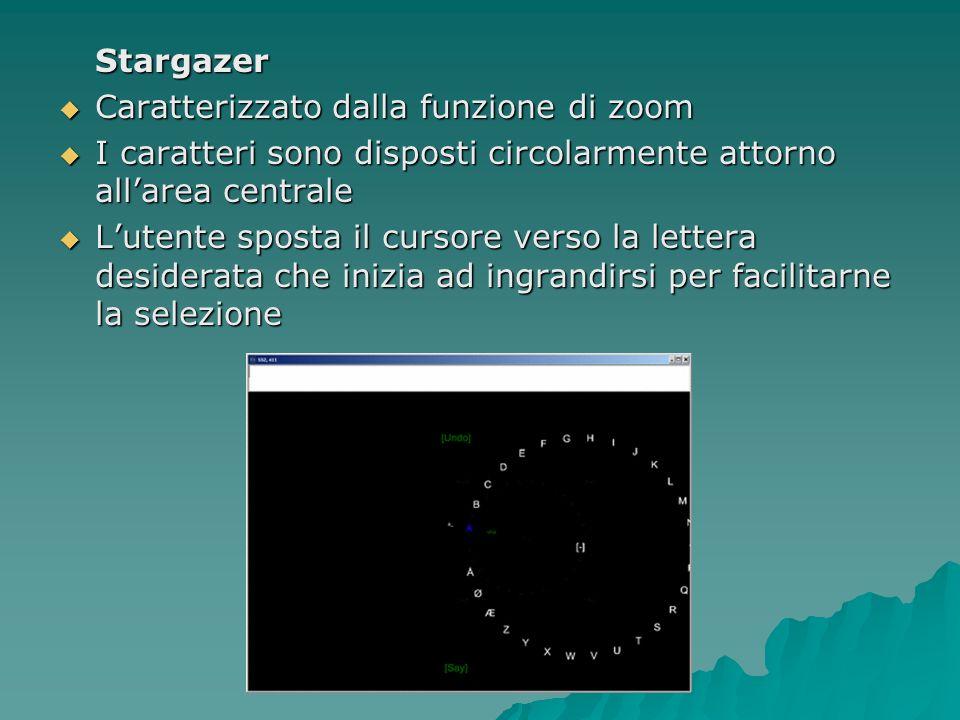 Stargazer Caratterizzato dalla funzione di zoom. I caratteri sono disposti circolarmente attorno all'area centrale.