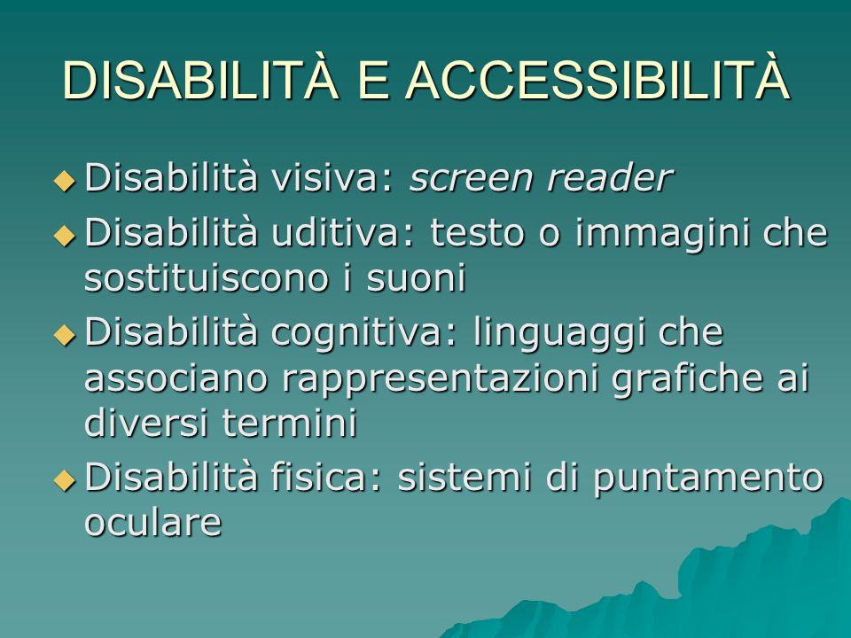 DISABILITÀ E ACCESSIBILITÀ