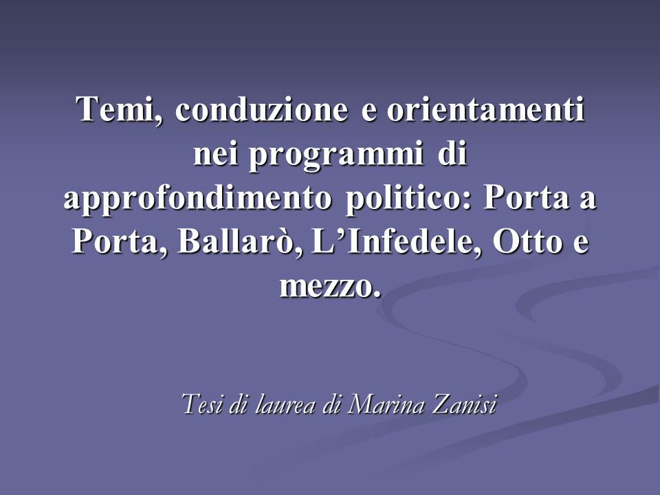 Tesi di laurea di Marina Zanisi