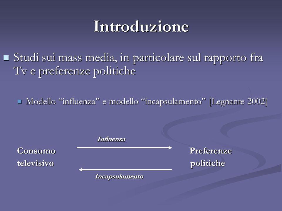 Introduzione Studi sui mass media, in particolare sul rapporto fra Tv e preferenze politiche.