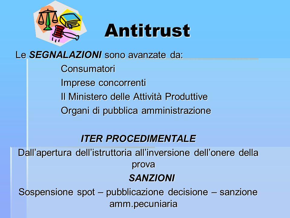 Antitrust Le SEGNALAZIONI sono avanzate da: Consumatori