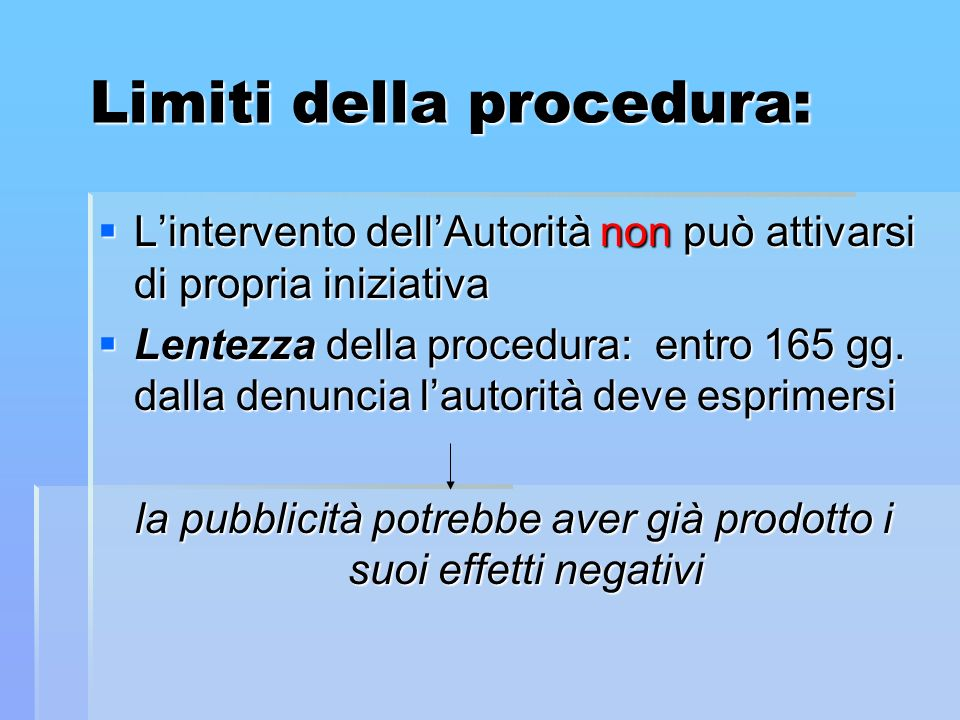 Limiti della procedura: