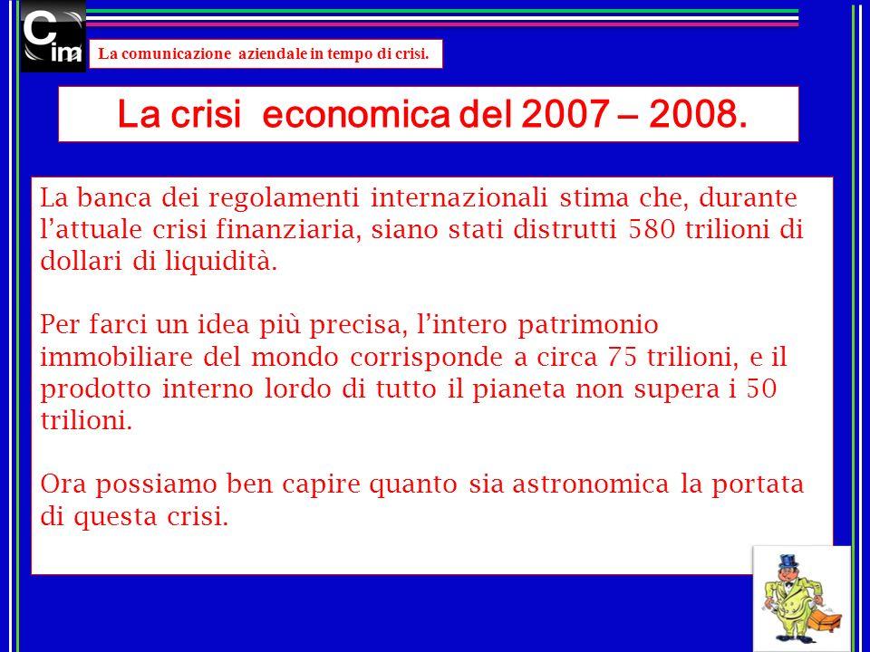 La crisi economica del 2007 – 2008.