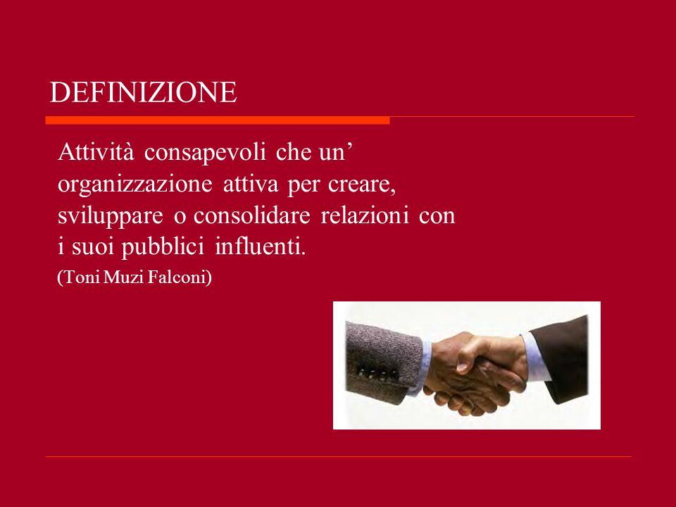 DEFINIZIONE Attività consapevoli che un' organizzazione attiva per creare, sviluppare o consolidare relazioni con i suoi pubblici influenti.