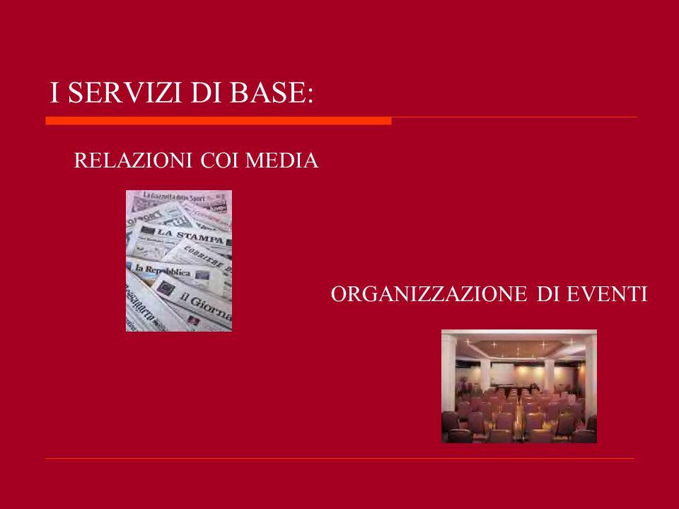 I SERVIZI DI BASE: RELAZIONI COI MEDIA ORGANIZZAZIONE DI EVENTI