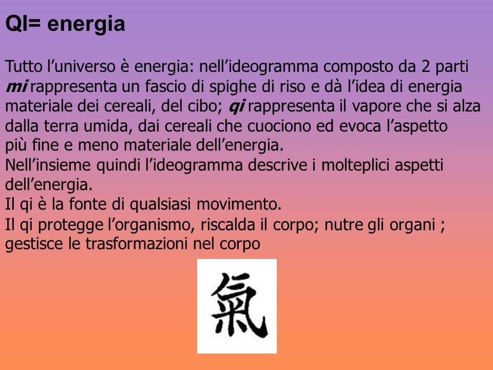 QI= energia Tutto l'universo è energia: nell'ideogramma composto da 2 parti. mi rappresenta un fascio di spighe di riso e dà l'idea di energia.