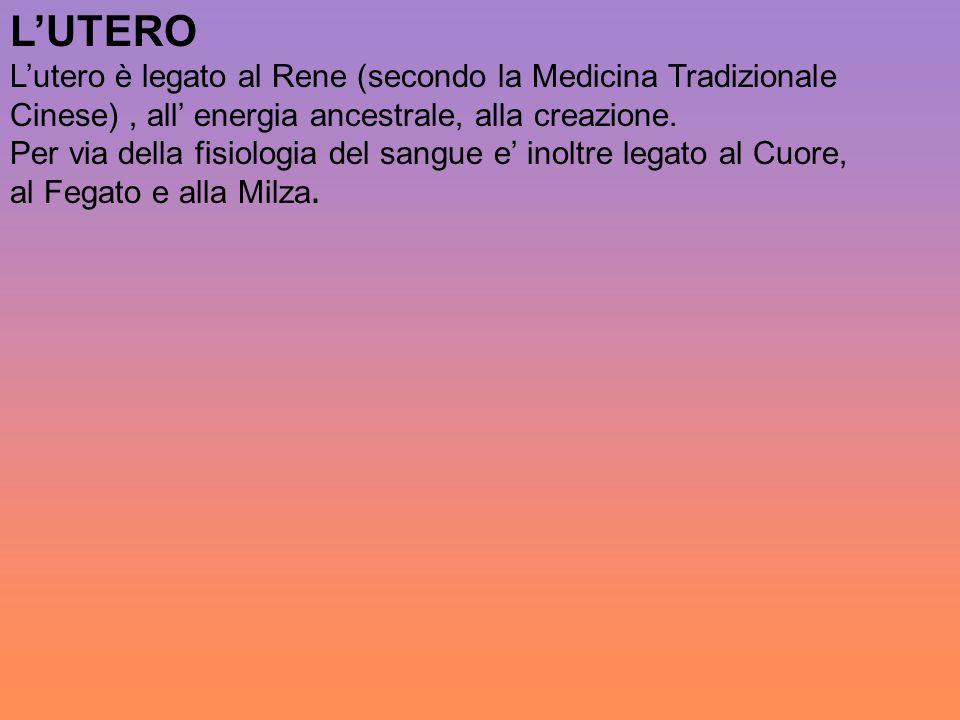 L'UTERO L'utero è legato al Rene (secondo la Medicina Tradizionale Cinese) , all' energia ancestrale, alla creazione.