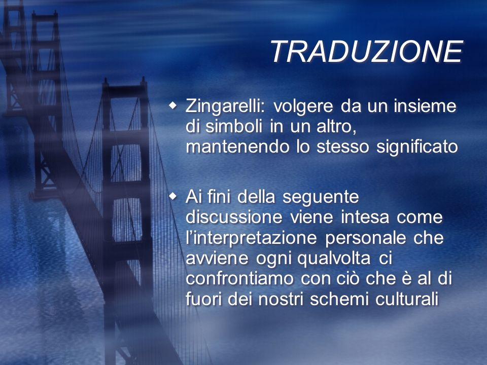 TRADUZIONE Zingarelli: volgere da un insieme di simboli in un altro, mantenendo lo stesso significato.