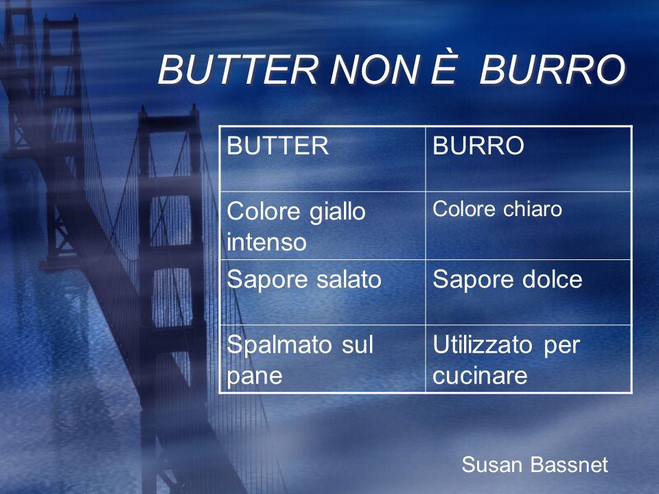 BUTTER NON È BURRO BUTTER BURRO Colore giallo intenso Sapore salato