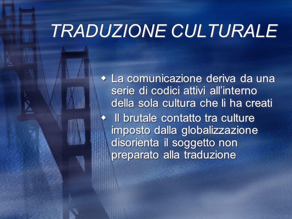 TRADUZIONE CULTURALELa comunicazione deriva da una serie di codici attivi all'interno della sola cultura che li ha creati.
