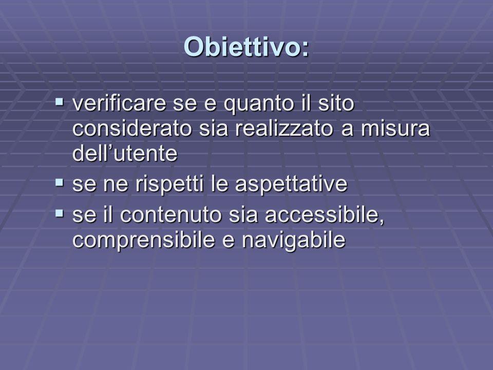 Obiettivo: verificare se e quanto il sito considerato sia realizzato a misura dell'utente. se ne rispetti le aspettative.