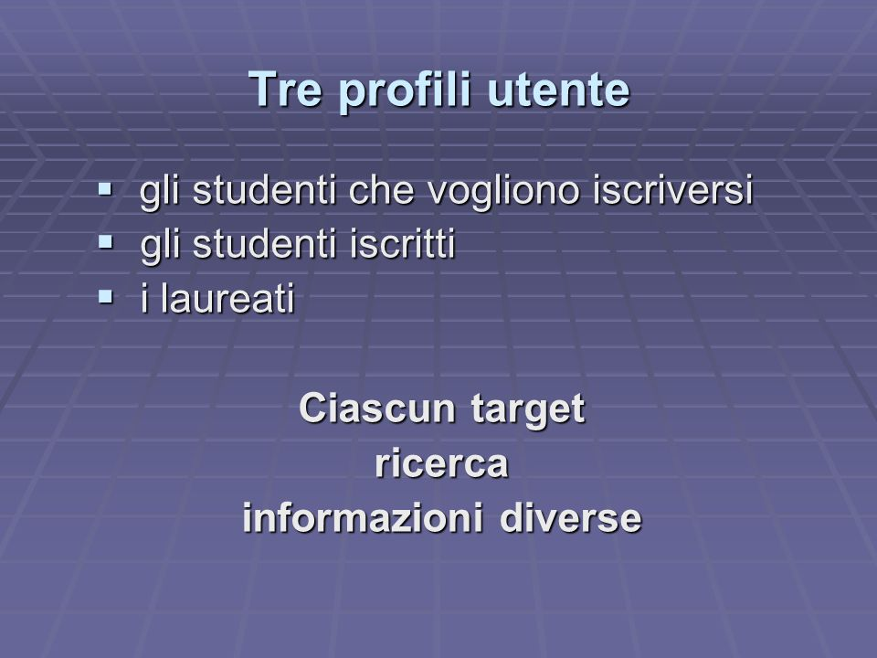 Tre profili utente gli studenti iscritti i laureati Ciascun target