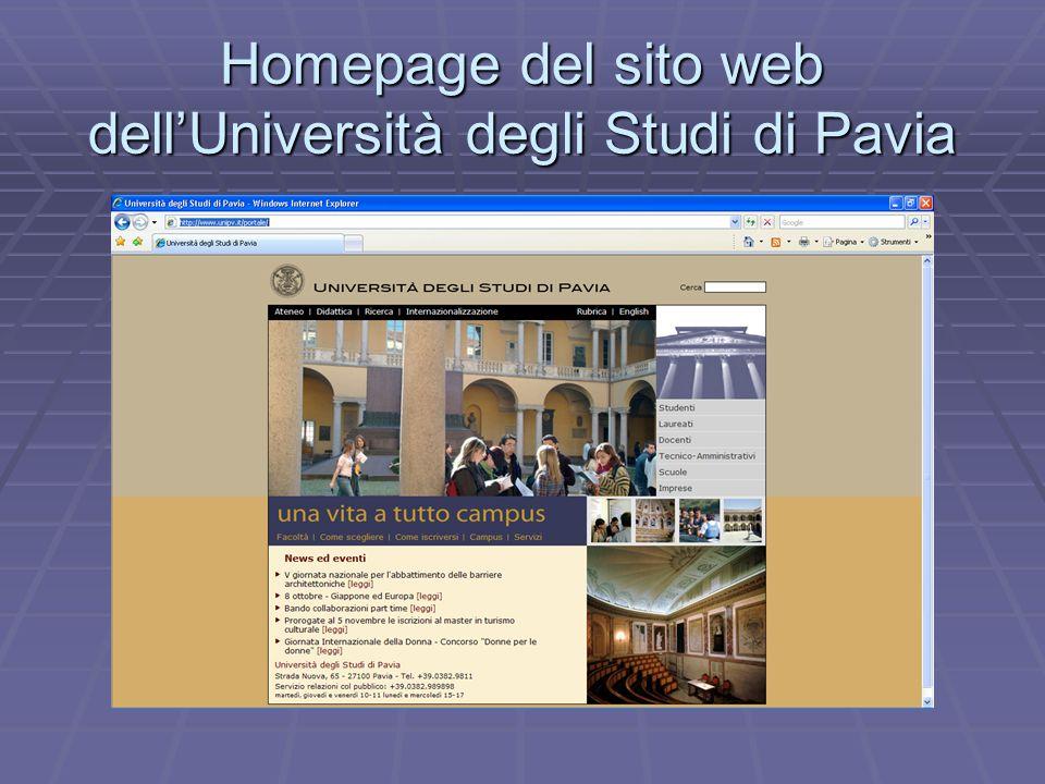 Homepage del sito web dell'Università degli Studi di Pavia