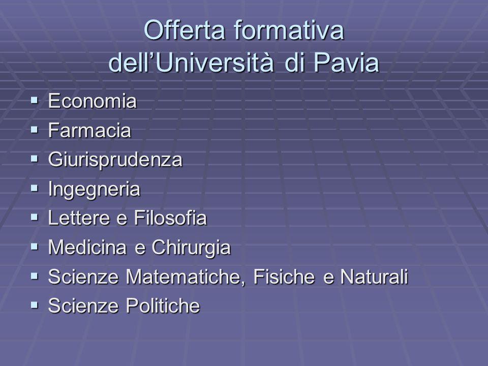 Offerta formativa dell'Università di Pavia