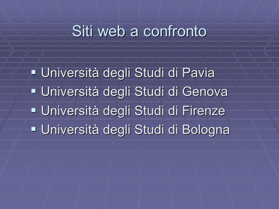 Siti web a confronto Università degli Studi di Pavia