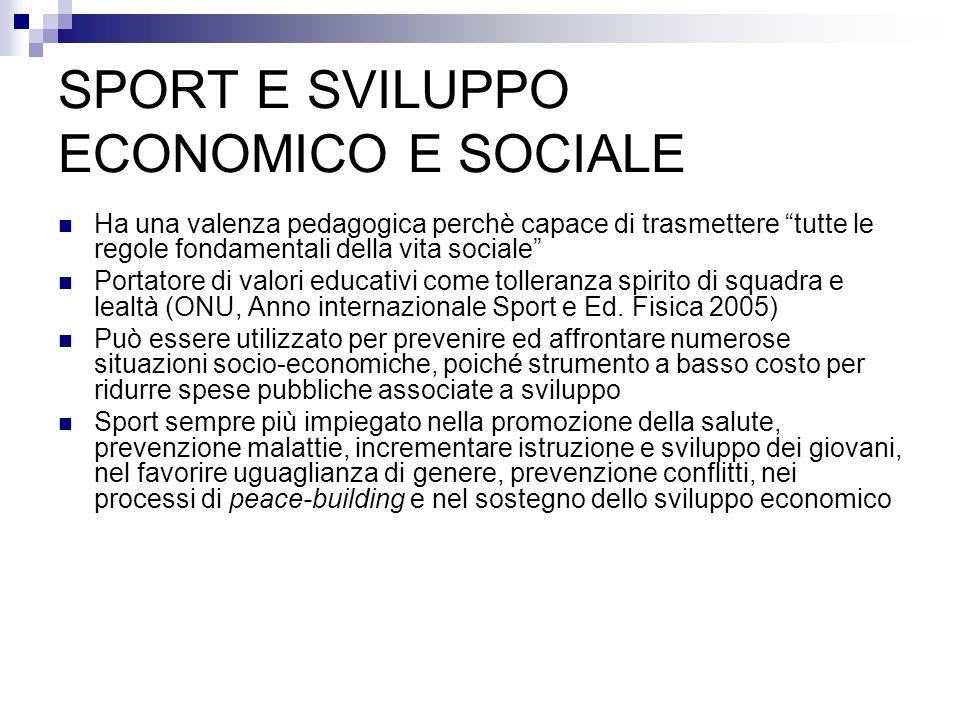 SPORT E SVILUPPO ECONOMICO E SOCIALE