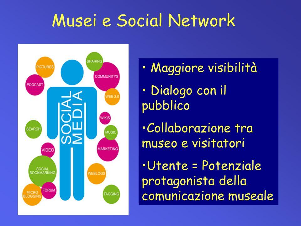 Musei e Social Network Maggiore visibilità Dialogo con il pubblico