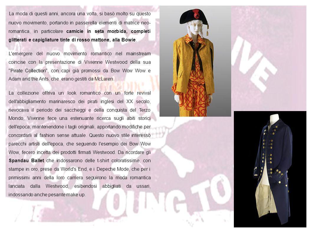 La moda di questi anni, ancora una volta, si basò molto su questo nuovo movimento, portando in passerella elementi di matrice neo- romantica, in particolare camicie in seta morbida, completi glitterati e capigliature tinte di rosso mattone, alla Bowie.