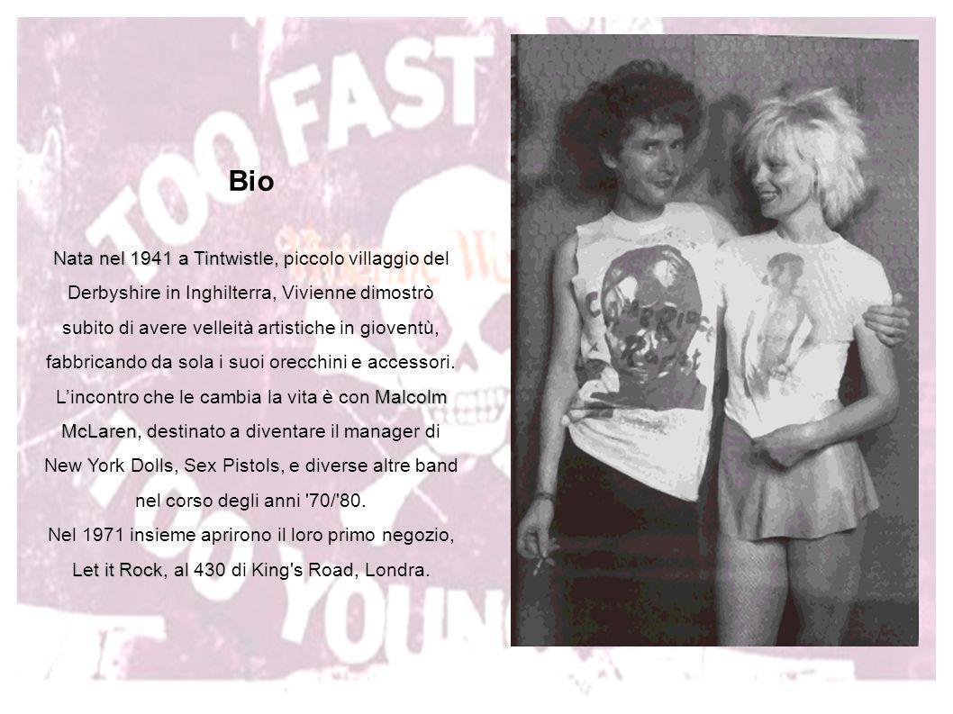 Bio Nata nel 1941 a Tintwistle, piccolo villaggio del Derbyshire in Inghilterra, Vivienne dimostrò subito di avere velleità artistiche in gioventù, fabbricando da sola i suoi orecchini e accessori. L'incontro che le cambia la vita è con Malcolm McLaren, destinato a diventare il manager di New York Dolls, Sex Pistols, e diverse altre band nel corso degli anni 70/ 80. Nel 1971 insieme aprirono il loro primo negozio, Let it Rock, al 430 di King s Road, Londra.