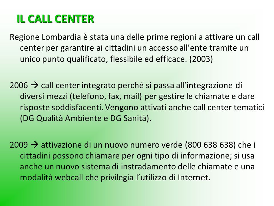 IL CALL CENTER