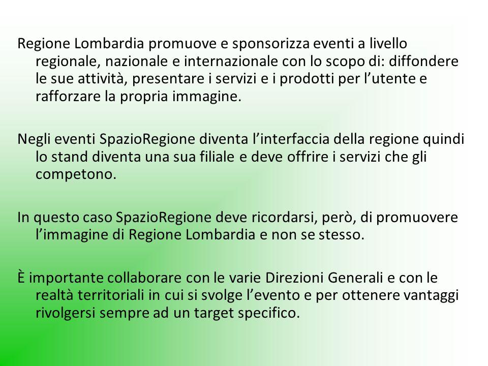 Regione Lombardia promuove e sponsorizza eventi a livello regionale, nazionale e internazionale con lo scopo di: diffondere le sue attività, presentare i servizi e i prodotti per l'utente e rafforzare la propria immagine.
