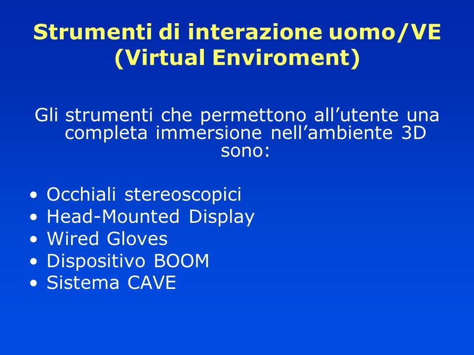 Strumenti di interazione uomo/VE (Virtual Enviroment)