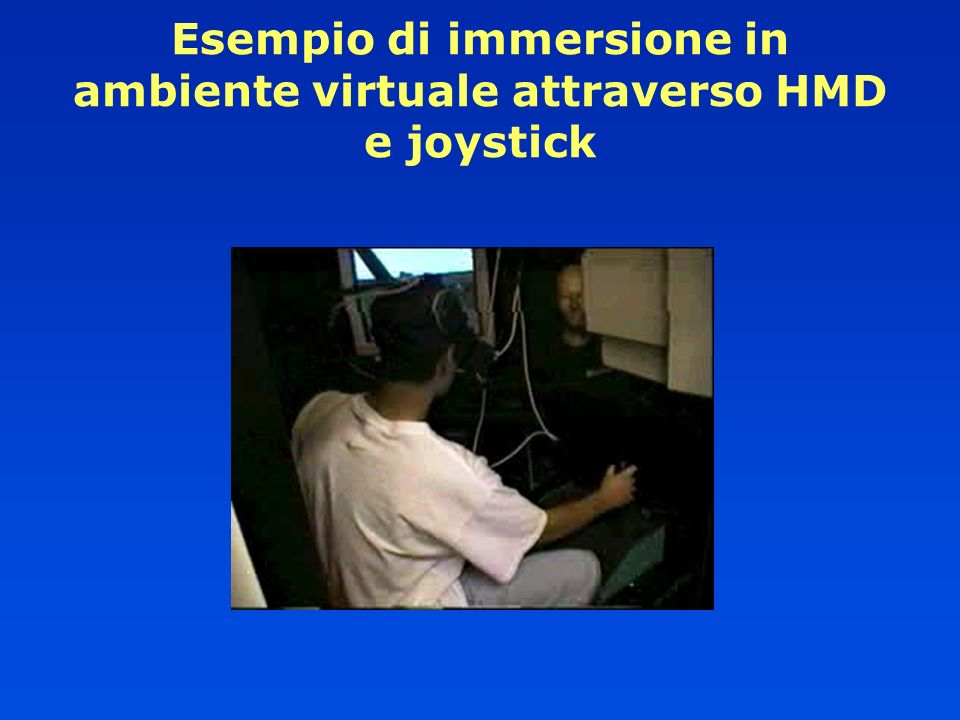 Esempio di immersione in ambiente virtuale attraverso HMD e joystick