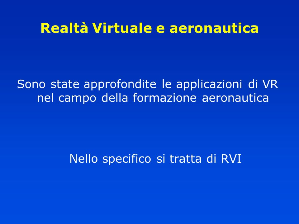 Realtà Virtuale e aeronautica