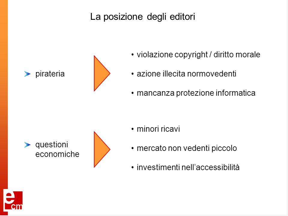 La posizione degli editori