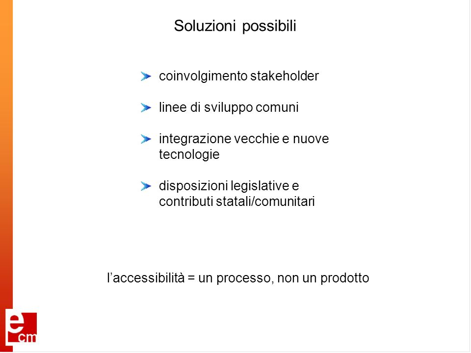 Soluzioni possibili coinvolgimento stakeholder