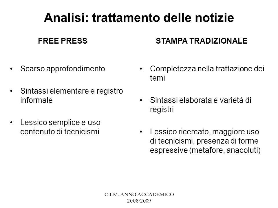 Analisi: trattamento delle notizie