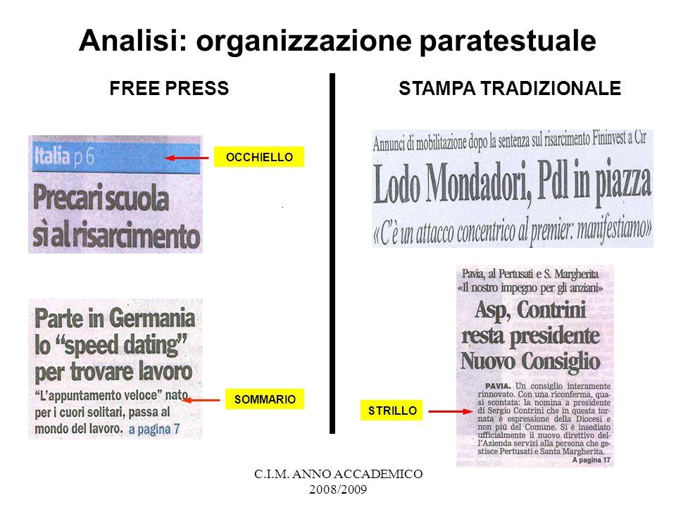 Analisi: organizzazione paratestuale