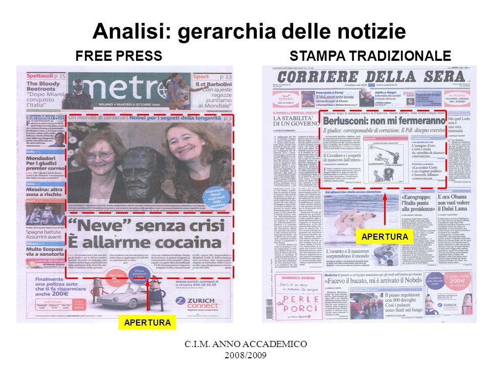 Analisi: gerarchia delle notizie