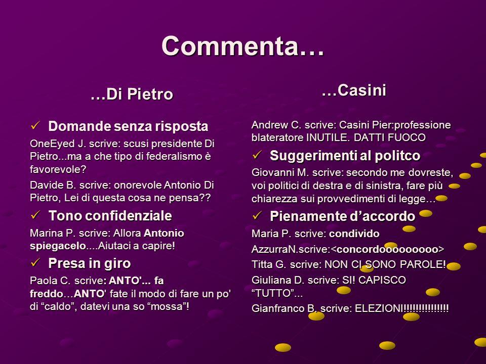 Commenta… …Di Pietro …Casini Domande senza risposta Tono confidenziale