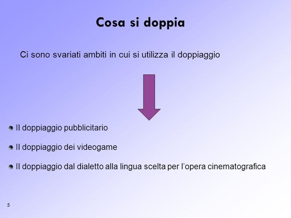 Cosa si doppiaCi sono svariati ambiti in cui si utilizza il doppiaggio. Il doppiaggio pubblicitario.